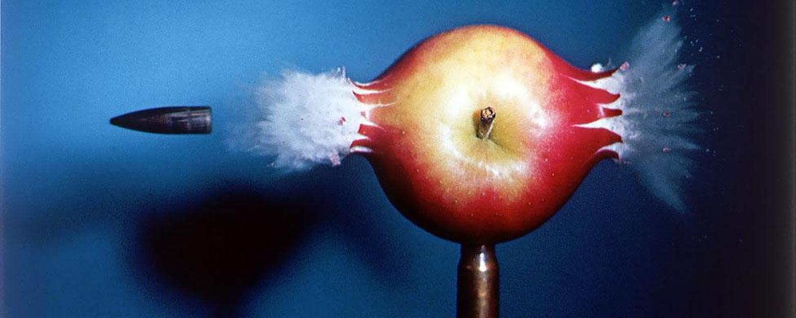 Bullet through apple